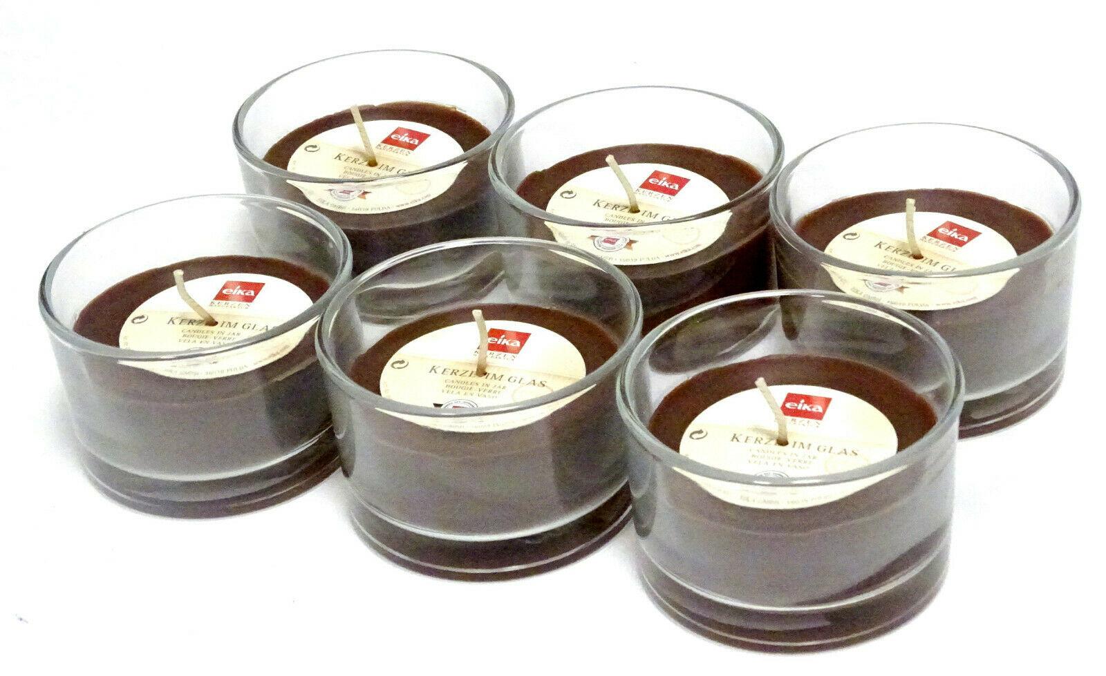 6 Stück Kerze im Glas durchgefärbte Wachs Ø 87 x 57 mm Kerzenglas Windlichtkerze - Braun 268
