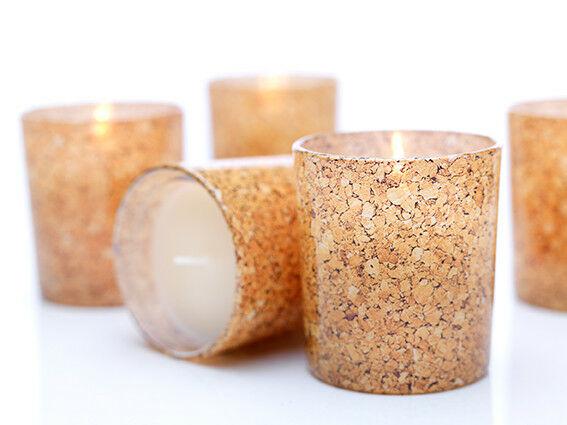 12 - 24 Stück Kerze im Glas Wachs 85x80mm Kerzenglas Kork Refill Windlichtkerzen - 12 Stück