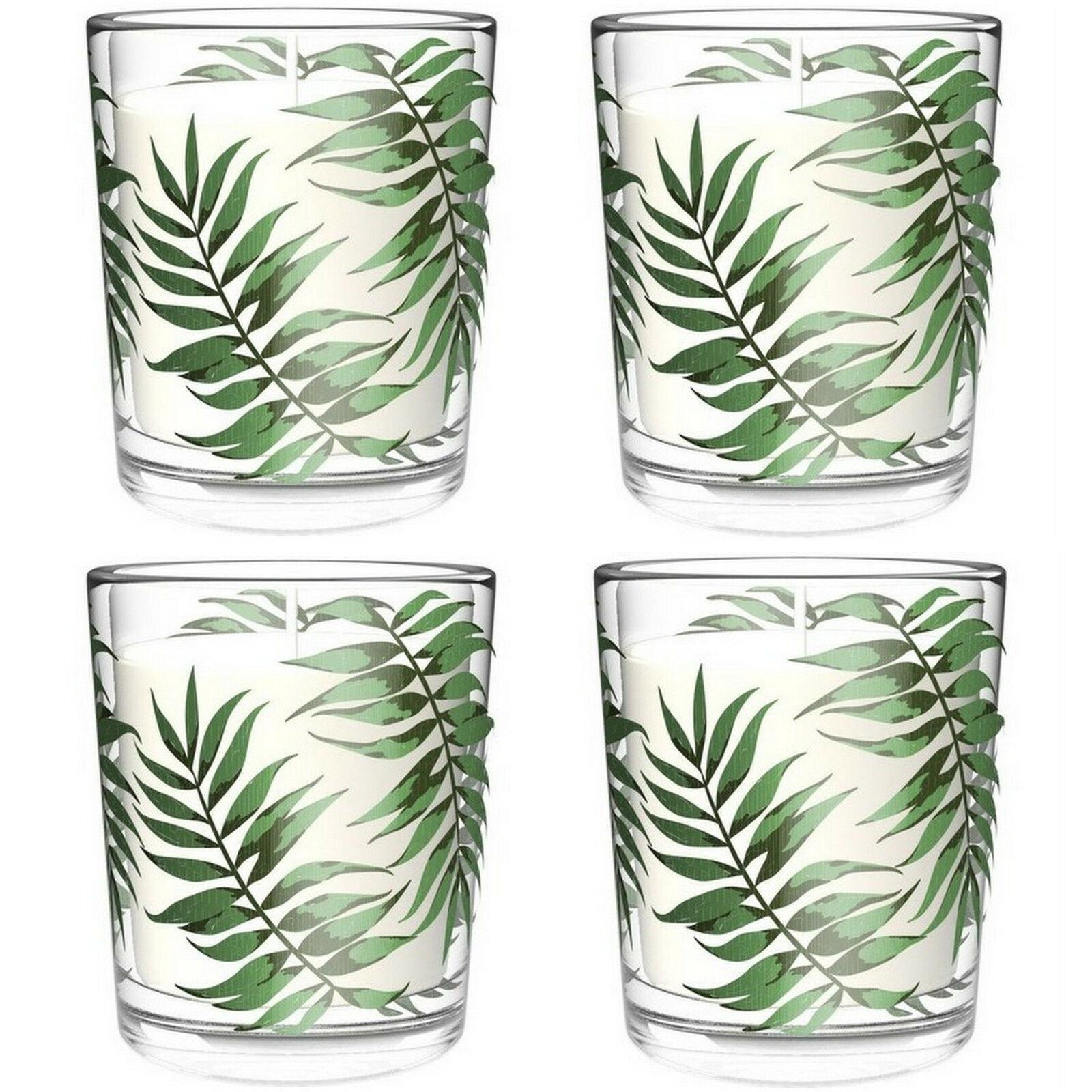 10 Stück Kerze im Glas 84 x 70 mm Kerzenglas 30h Wachs Windlichtkerze Palmblatt
