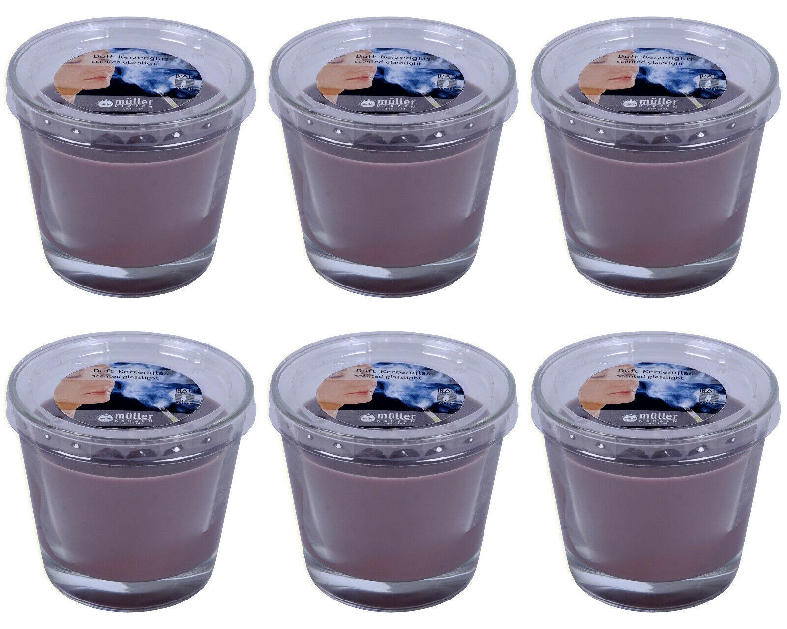 6 Müller Duftkerzen im Glas 80x90 mm Duftgläser 430g Kerzenglas Anti Tabak