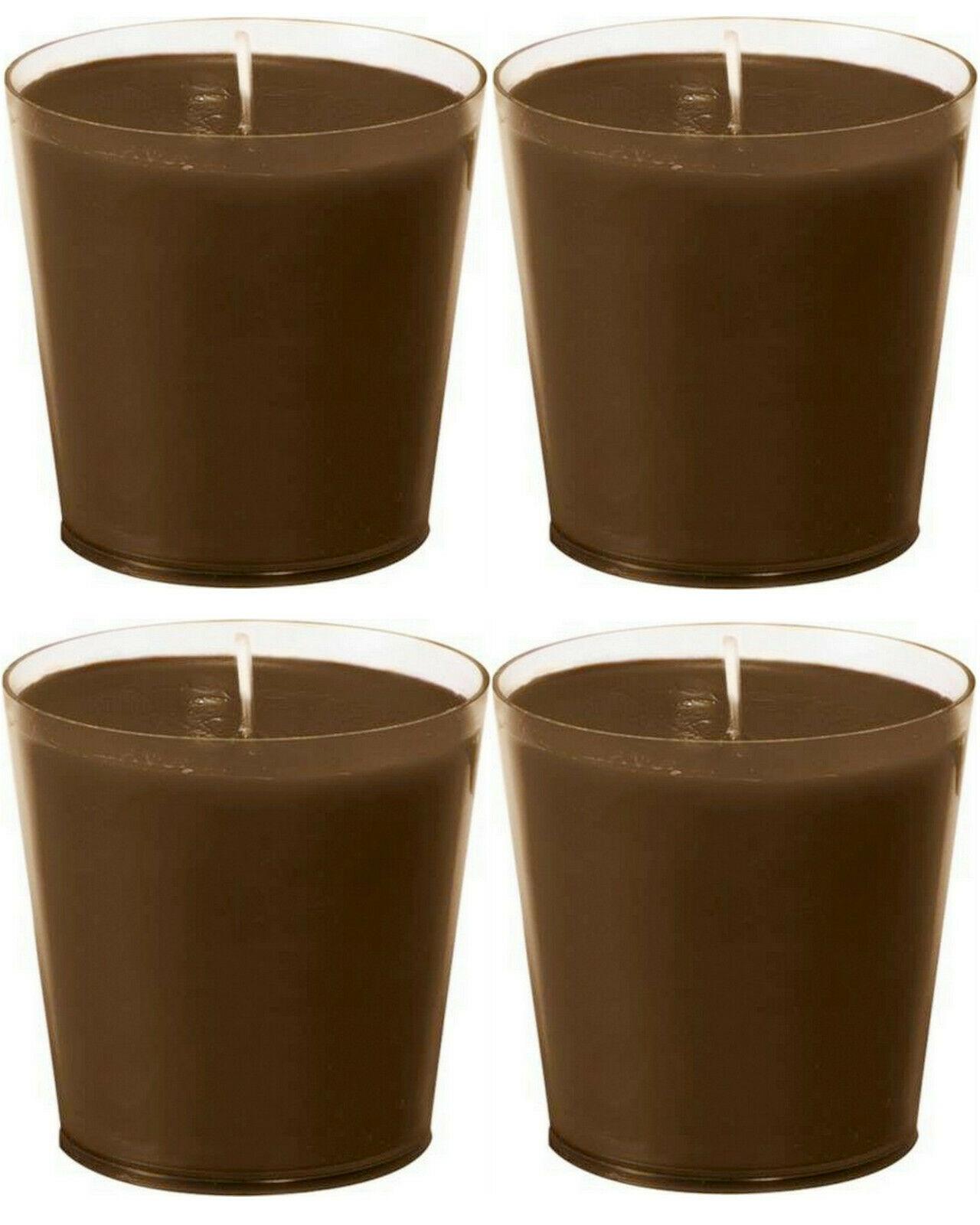 12 Stück Nachfüller Kerzen Acryl Cup 65 x 65 mm Nachfüll-Lichte Refill 30h Braun