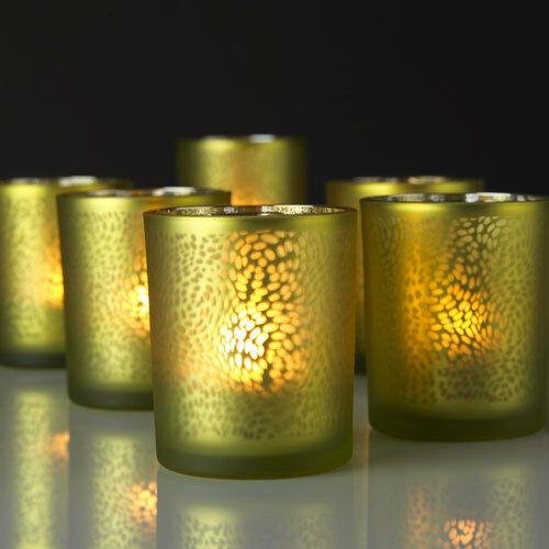 10 Stück Teelichthalter 70x60mm Teelichtglas Kerzenständer Windlicht Gold-Silber - 10 Stück