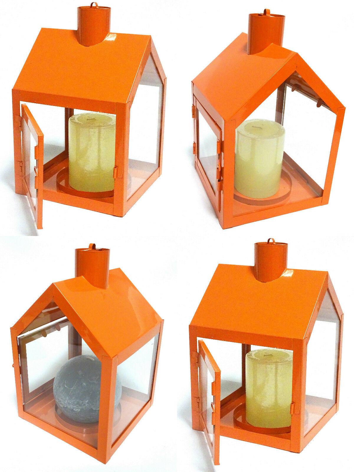 4 x Windlicht Laterne HAUS aus Metall 230 x 150 x 155 mm Kerzenhalter Orange - 4 Stück