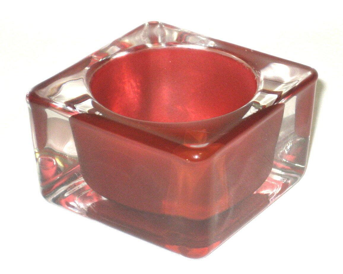 12 eckige Teelichtgläser Teelichthalter Votivglas Kerzenhalter 0,90 €/Stück  - Bordeaux 149