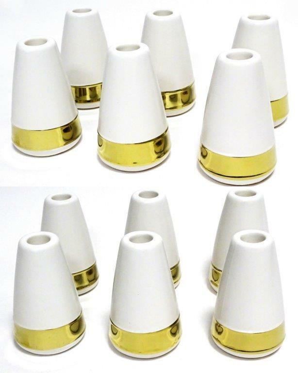 6 /12 Stück Kerzenständer Kerzenhalter Vase Keramik Kerzen Halter Kerzenleuchter - 12 Stück, Kerzenhalter Weiß/Gold 110x70mm