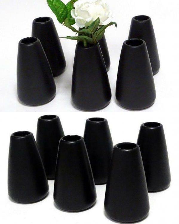 6 /12 Stück Kerzenständer Kerzenhalter Vase Keramik Kerzen Halter Kerzenleuchter - 12 Stück, Vase Schwarz 114x70mm