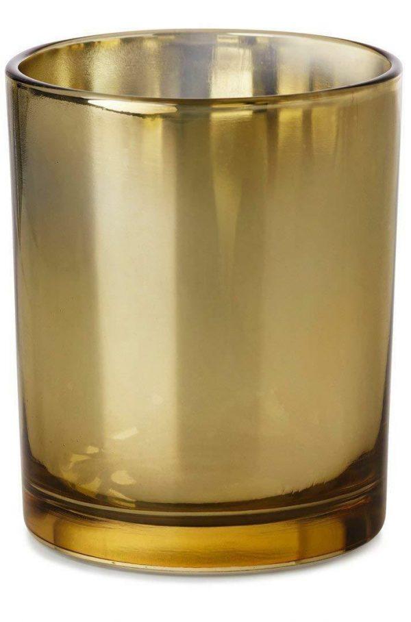 6 Stück Kerzenhalter Maxilichtglas 120 x 75 mm Teelichthalter Kerzen Glas Braun - Gold, 6 Stück