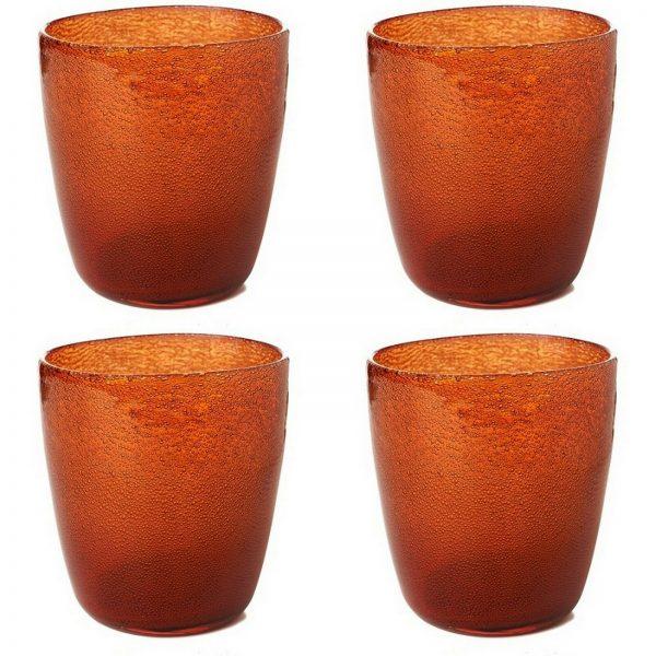 4-12 Duni Kerzenhalter Teelichthalter 105x90 mm Kerzenglas Raindrops Mandarin - 4 Stück