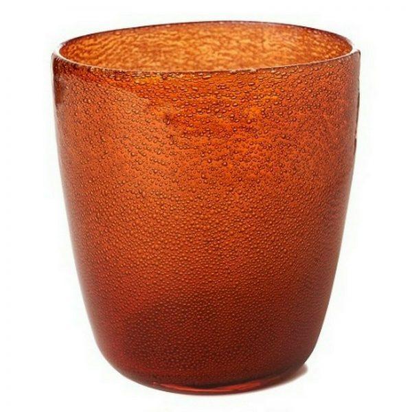 4-12 Duni Kerzenhalter Teelichthalter 105x90 mm Kerzenglas Raindrops Mandarin - 8 Stück
