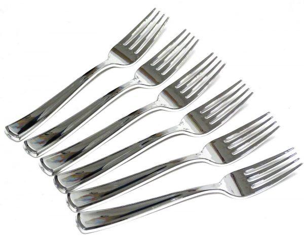 20 -50 teilig metallisiert Premium-Einweg-Besteck: Gabel Messer Löffel Teelöffel - 20 x Gabeln 18,5 cm
