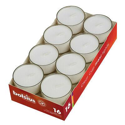 16 Stück Bolsius Maxi Teelichter Acryl Cup 9 Stunden Jumbo Maxi Lichte weiß