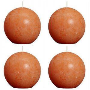4 Stück Bolsius Rustic Kugelkerzen 100 mm durchgefärbte Rustik Kugelkerze Orange