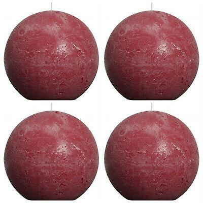 4 Stück Bolsius Rustic Kugelkerzen 145 mm durchgefärbt Rustik Kugelkerze Weinrot