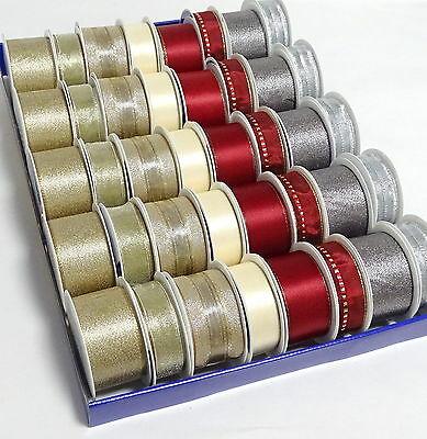40/50 Rollen Dekoband Geschenkband Schleifenband Satinband Display Weihnachten  - 40 Rollen Gold/Creme/Silber/Bord.