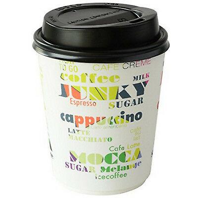 96 Stk Coffee to go Becher mit Deckel 0,24L doppelwandig Pappbecher Kaffeebecher