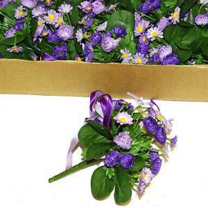 12 Stück Blumensträußchen Kamille Lila Blumenstrauß klein Blütenkranz Flower