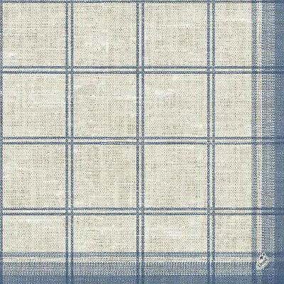 50 Stück Duni Klassik Servietten 40x40 cm, 4-lagig 1/4 Falz Classic Karo Blau