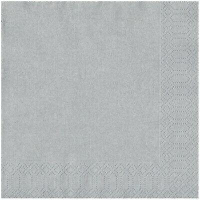 300 Stück Zellstoff Servietten 3-lagig 33x33 cm Tissue-Qualität Papier Silber