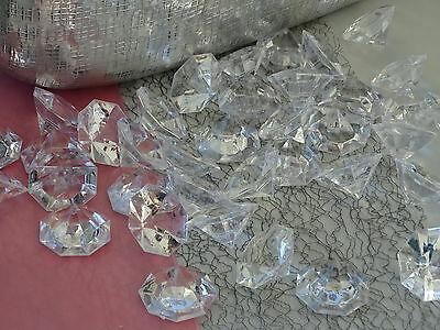 8/40 x Deko Diamanten Dekosteine Acryl klar 32mm Edelstein Streudeko Tischdeko  - 24 Stück