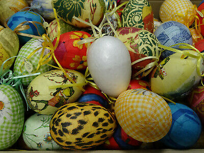 20 Stück Styropor-Eier 9,5 cm Osterei Deko-Ei bunt zum Bemalen / Bekleben