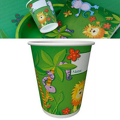 160 Stück Pappbecher 0,2L Party Becher Kindergeburtstag Dschungel Freunde Tiere