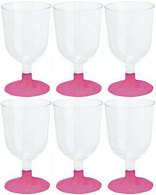 144 Stück Einweg Weingläser 150 ml Weinglas Wasserglas Plastikbecher Pink-klar