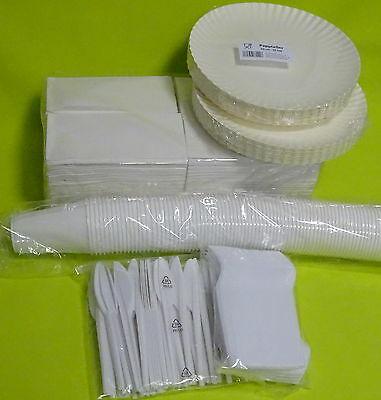 Party Set Einweg 100 Pappteller 100 Gabeln 100 Messer 100 Becher 200 Servietten