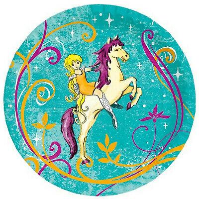 50 Stück Einweg Pappteller rund 22 cm Mädchen Party Kindergeburtstag Pferd