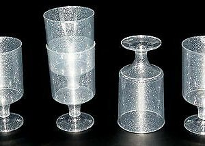 60 Stück Einweg Schnapsgläser 50 ml Glanzeffekt Eichstrich 2 cl /4 cl Stiel Glas