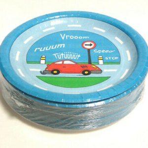 50 Stück Einweg Pappteller rund 23 cm Auto Party Kindergeburtstag