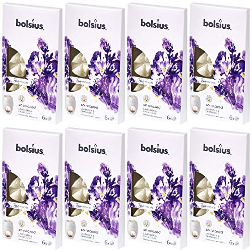 bolsius Aromatic Wax Melts 8 x 6er Pack (48 Stück) Duft Schmelzblüten Wachs (So Relaxed: Lavender & Chamomile (76))