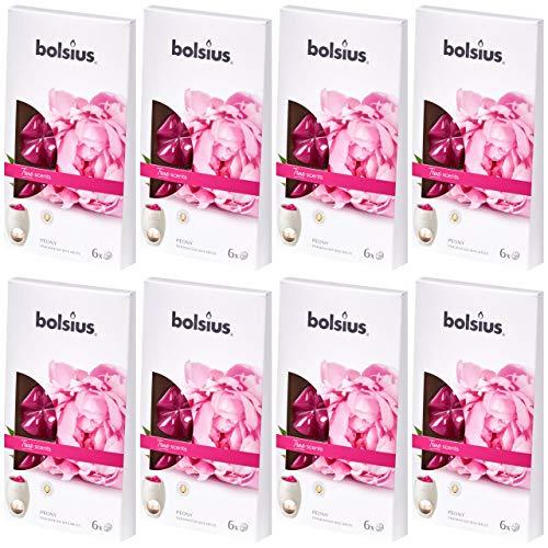 bolsius Aromatic Wax Melts 8 x 6er Pack (48 Stück) Duft Schmelzblüten Wachs (Peony (62))