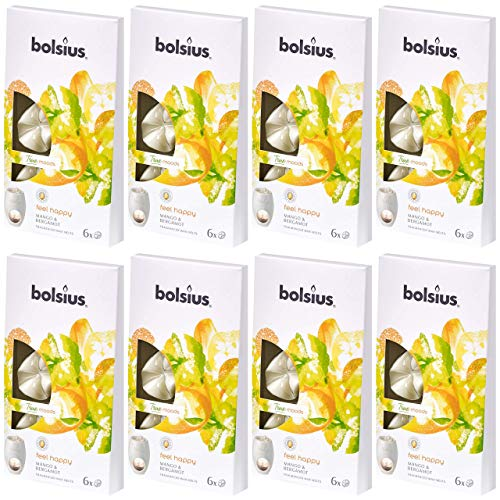 bolsius Aromatic Wax Melts 8 x 6er Pack (48 Stück) Duft Schmelzblüten Wachs (Feel Happy: Mango & Bergamot (12))