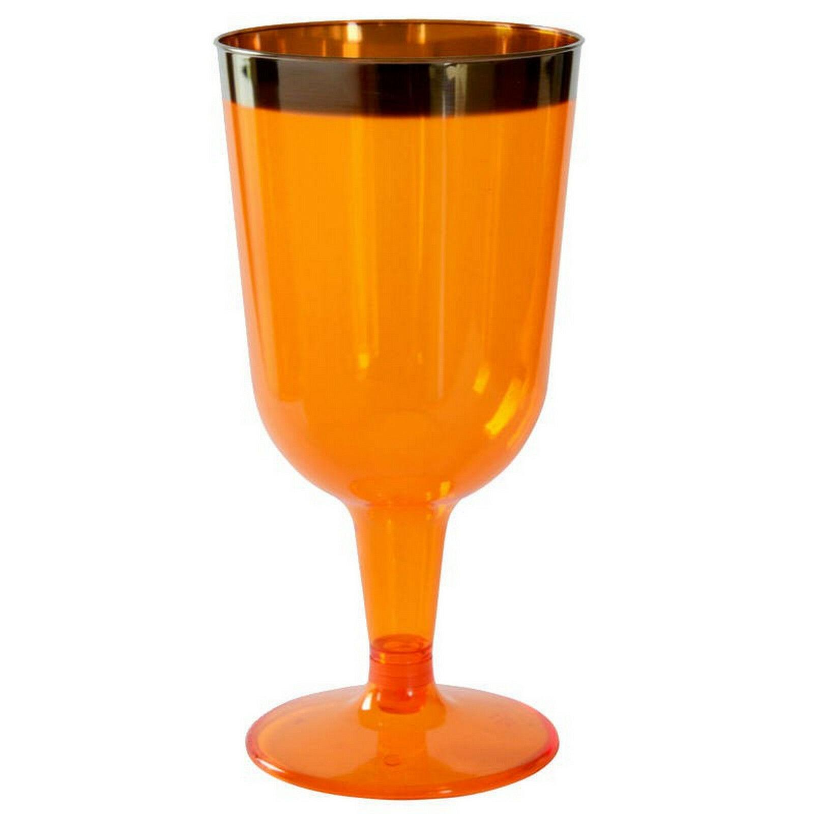 30-90 Stück Einweg Weingläser 180ml Weinglas Kunststoff Plastikbecher Neon Farbe - 90 Stück = 6 Stück x 15 Pack., Orange