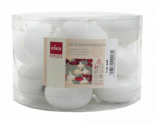 20 - 40 Stück Eika Schwimmkerzen Groß Ø 50 mm Tischdekoration Weiß, Rot, Creme - Weiß, 20 Stück = 1 Pack x 20 Stück