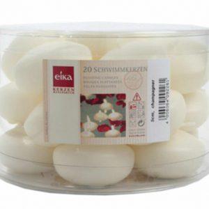 20 - 40 Stück Eika Schwimmkerzen Groß Ø 50 mm Tischdekoration Weiß, Rot, Creme - Elfenbein, 20 Stück = 1 Pack x 20 Stück