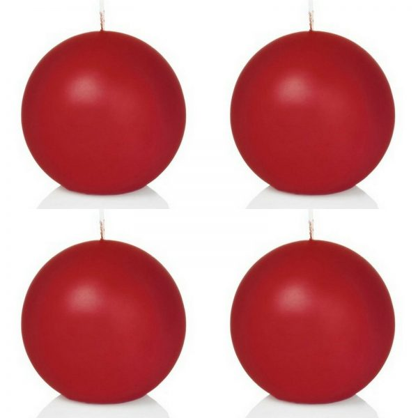 8 Stück Kugelkerzen Ø 80 mm runde Deko Kerze Ballkerze Rot / Weiß  - Rot