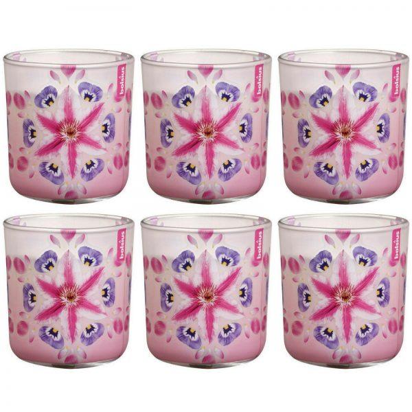 6 Bolsius Duftkerzen im Glas 86x80 mm Duftglas PINK FLOWER BURST Kerzenglas 420g