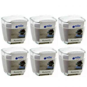 6 Müller Duftkerzen im Glas 75x70 mm Duftgläser 340g Kerzenglas MOMENTS braun