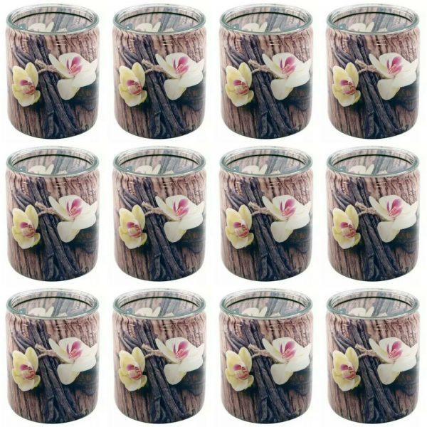 12 Stück Bolsius Duftgläser 82x68 mm Duftkerzen im Glas Kerzenglas VANILLE braun