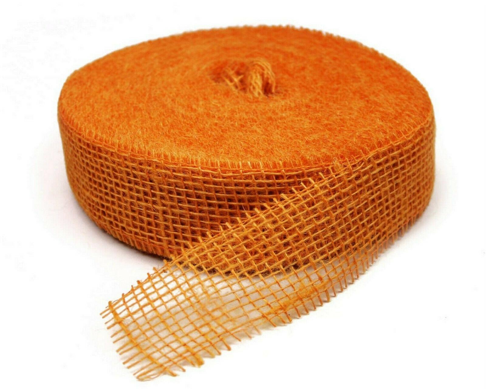 Juteband 40 m x 5 cm Dekoband ab 0,20 €/m Jute Rolle Schleifenband Rupfen Band - orange (hart)  40 m