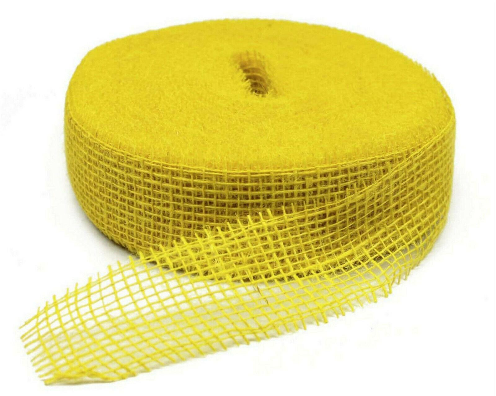 Juteband 40 m x 5 cm Dekoband ab 0,20 €/m Jute Rolle Schleifenband Rupfen Band - gelb (hart) 40 m