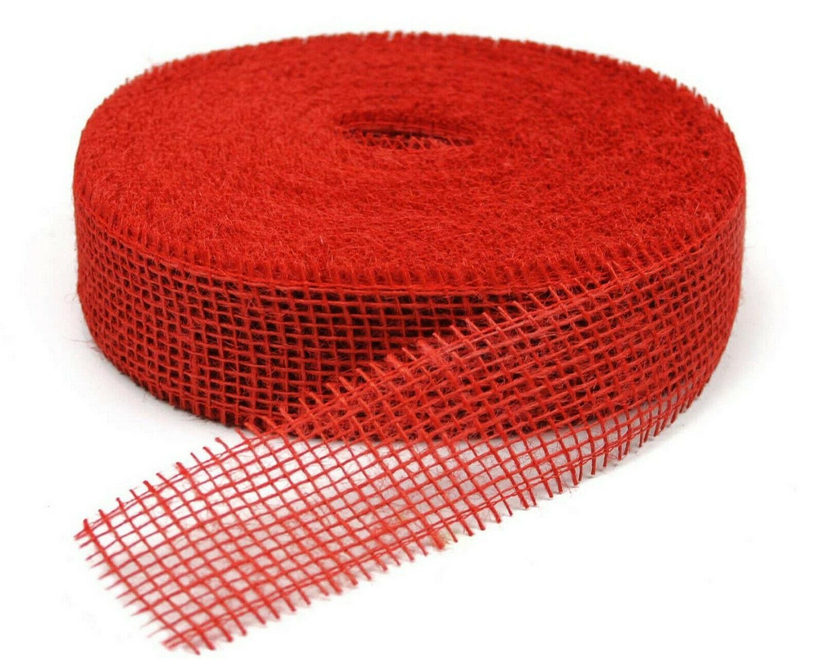 Juteband 40 m x 5 cm Dekoband ab 0,20 €/m Jute Rolle Schleifenband Rupfen Band - rot (hart) 40 m