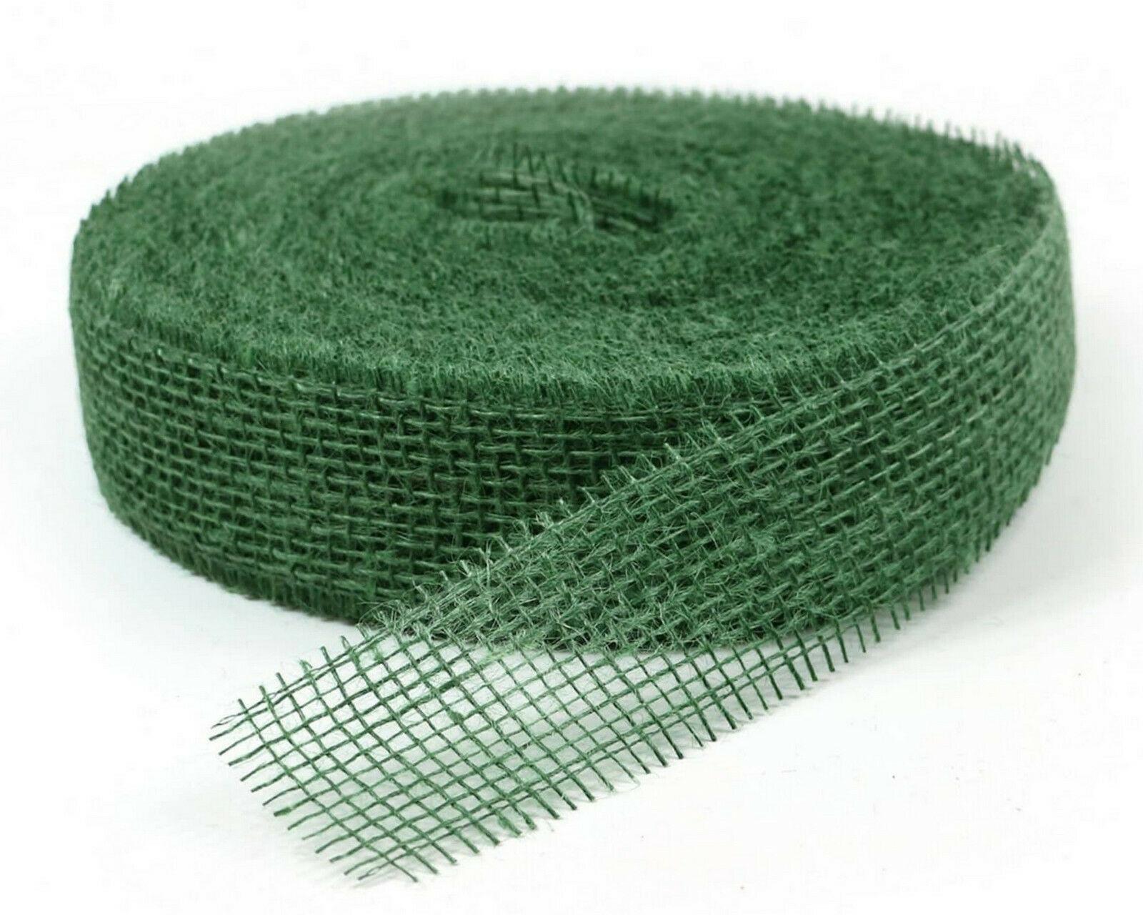 Juteband 40 m x 5 cm Dekoband ab 0,20 €/m Jute Rolle Schleifenband Rupfen Band - dunkelgrün (hart) 40 m