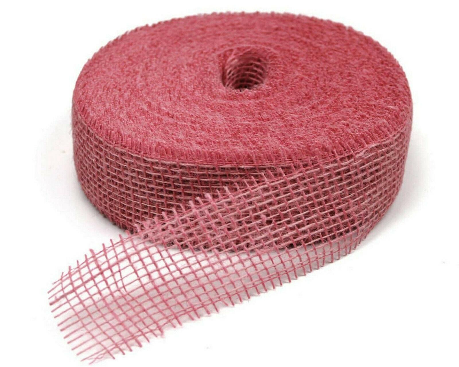 Juteband 40 m x 5 cm Dekoband ab 0,20 €/m Jute Rolle Schleifenband Rupfen Band - rosa (hart) 40 m