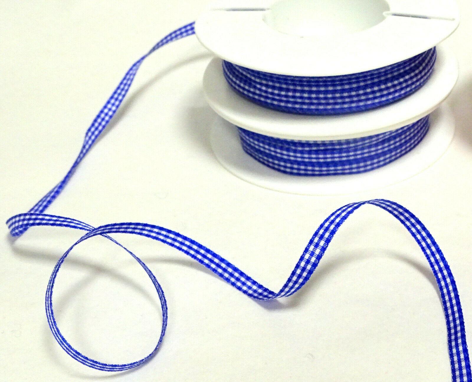 Karoband Schleifenband 50 m x 6mm / 10mm Vichy Dekoband ab 0,18€/m Blau kariert - 6 mm x 50 m