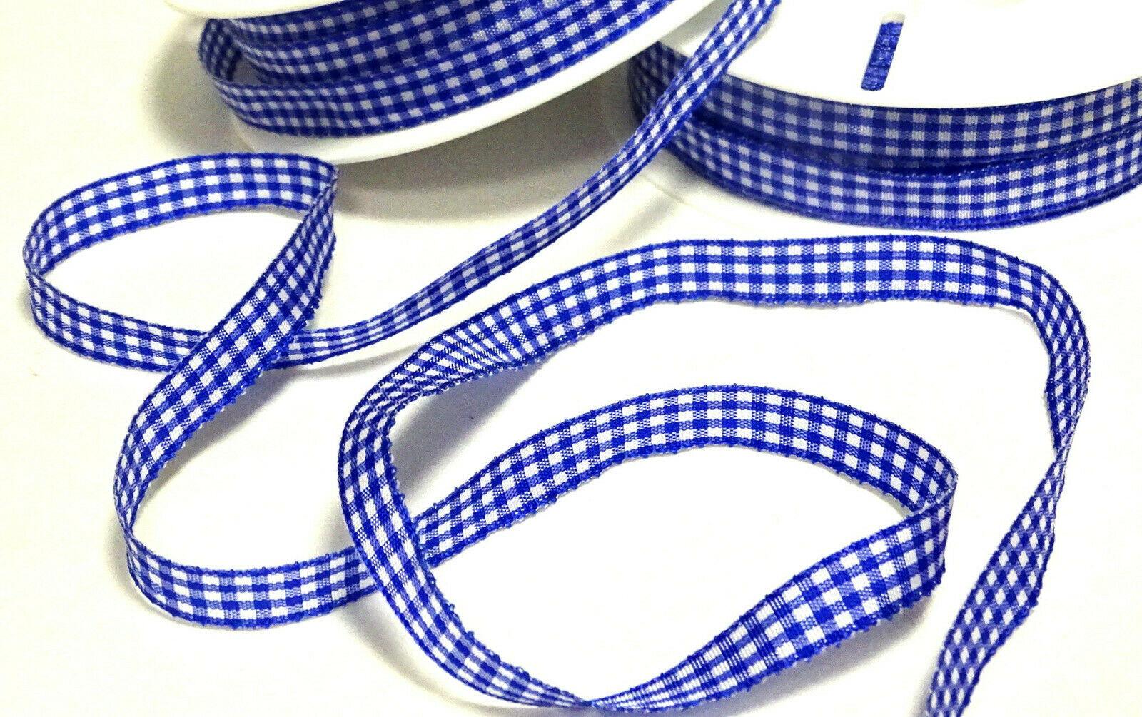 Karoband Schleifenband 50 m x 6mm / 10mm Vichy Dekoband ab 0,18€/m Blau kariert - 10 mm x 50 m