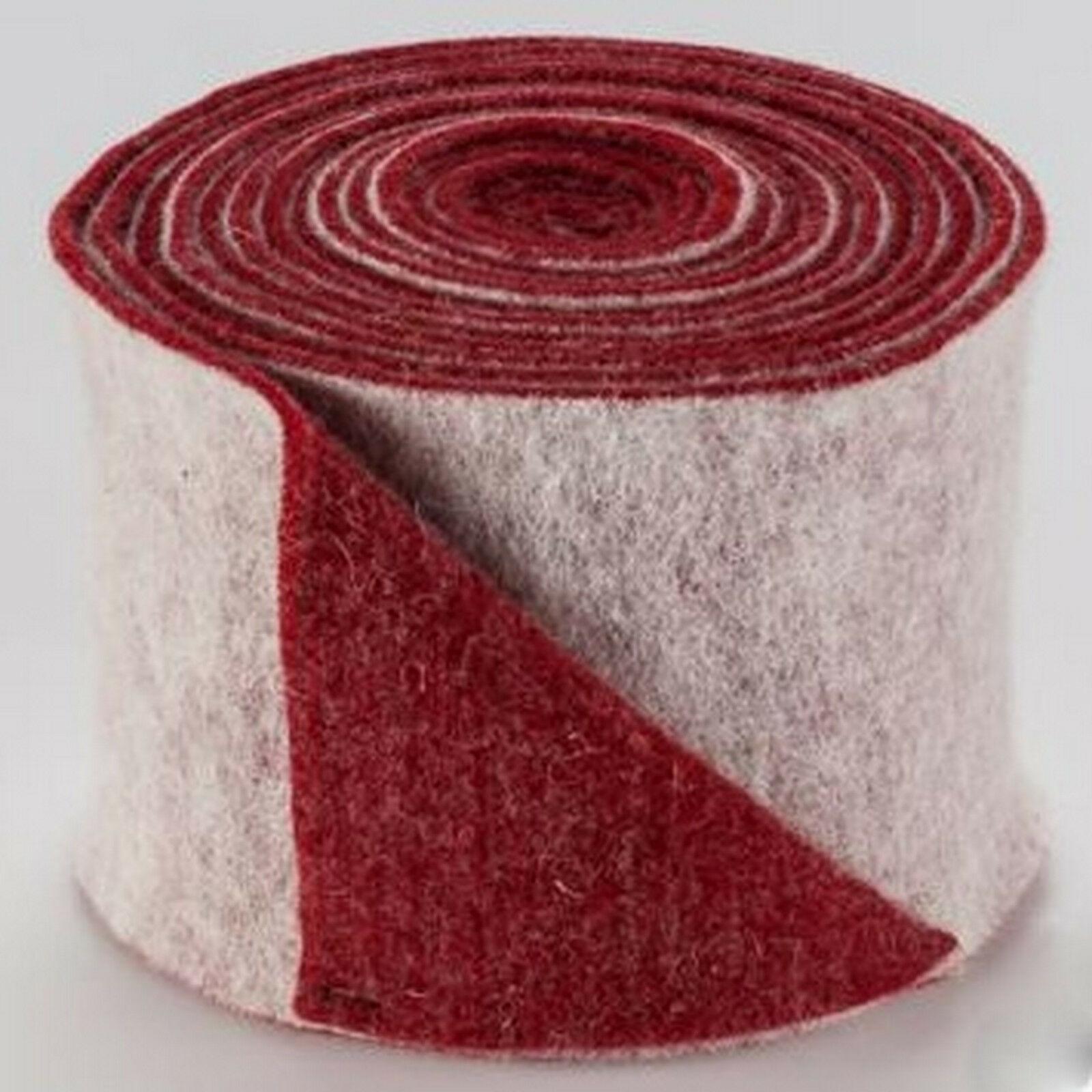 Topfband Filz 5 m x 15 cm zwei-farbige Dekoband Wollvlies Filz-Band Wollband  - weiß-rot