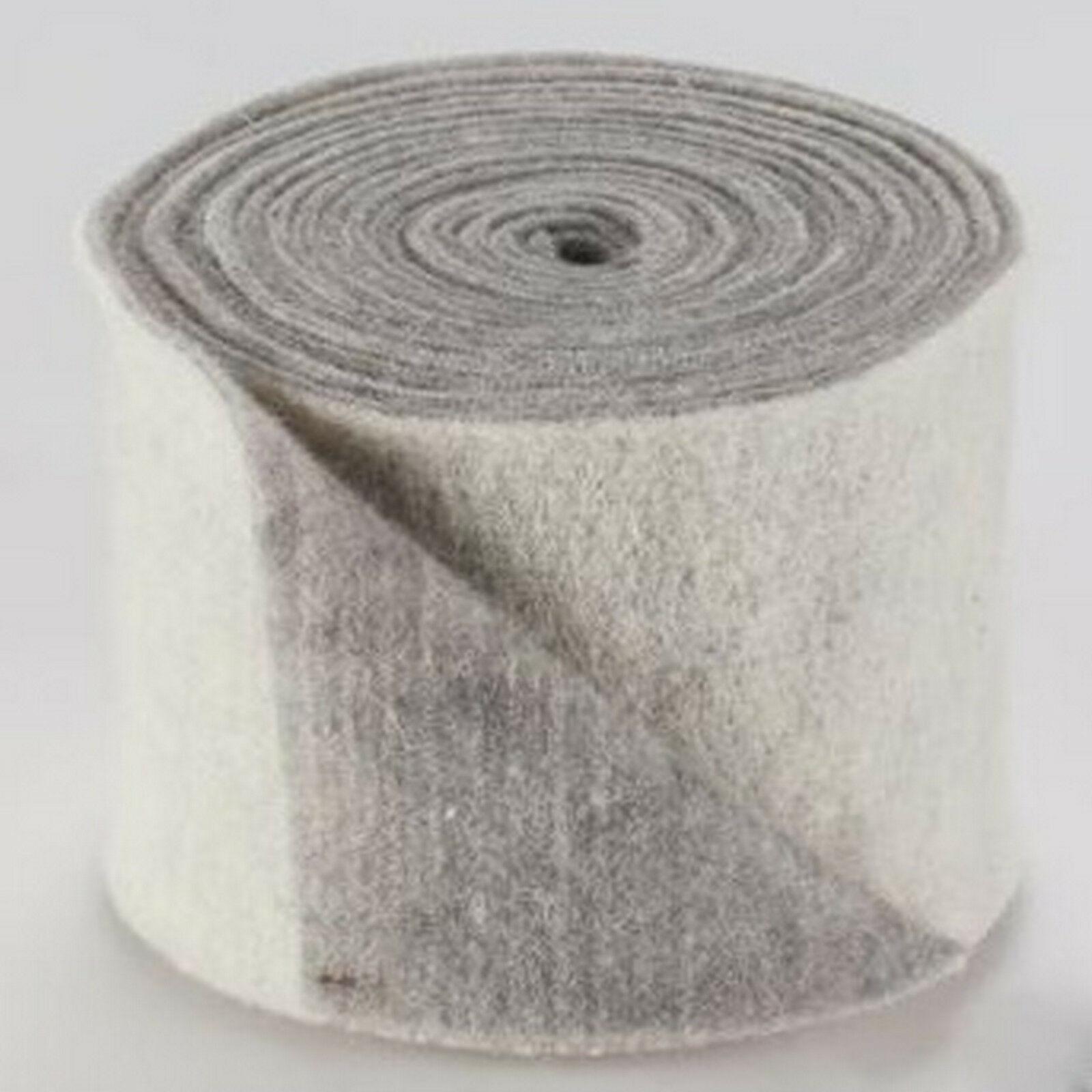 Topfband Filz 5 m x 15 cm zwei-farbige Dekoband Wollvlies Filz-Band Wollband  - weiß-grau