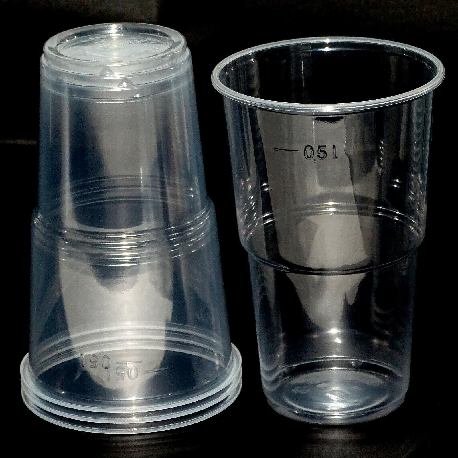 100 - 1.000 Einweg Bierbecher Ausschankbecher Trinkbecher 0,3 L / 0,4 L / 0,5 L  - 100 Stück = 2 Pack.x 50 Stück, 500 ml